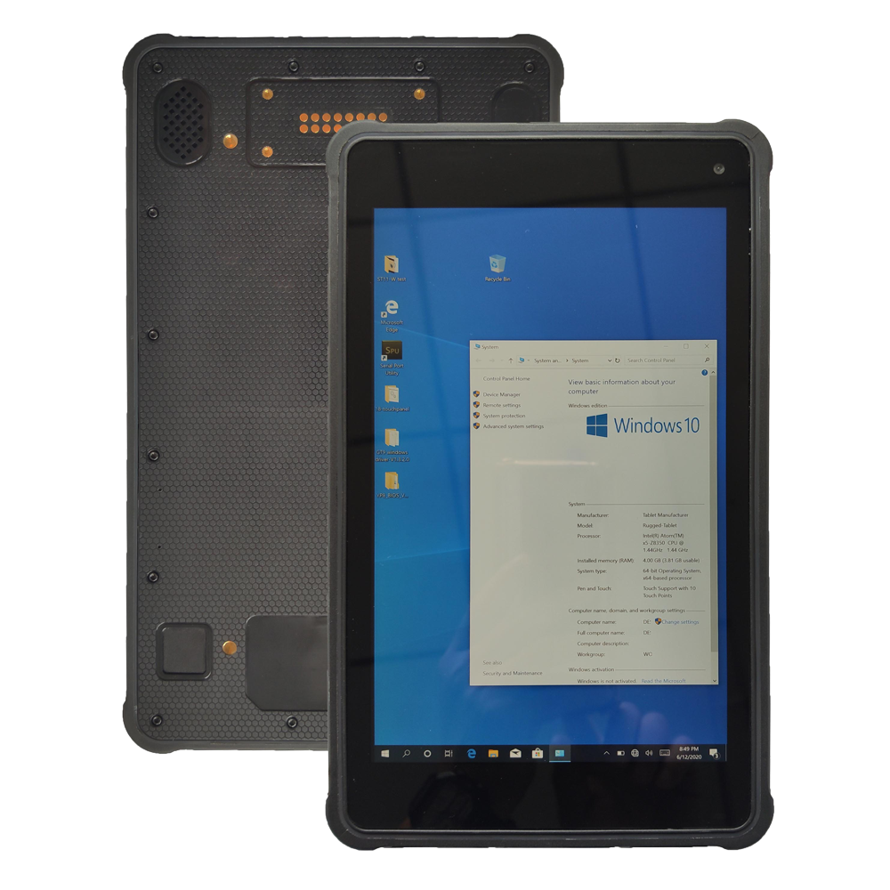 8 inch Windows 10 pro RAM 4GB ROM 64GB Rugged Tablet with Network port RT8